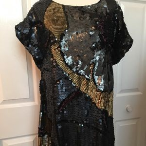 French Connection Beaded Flapper Boho Chic Dress